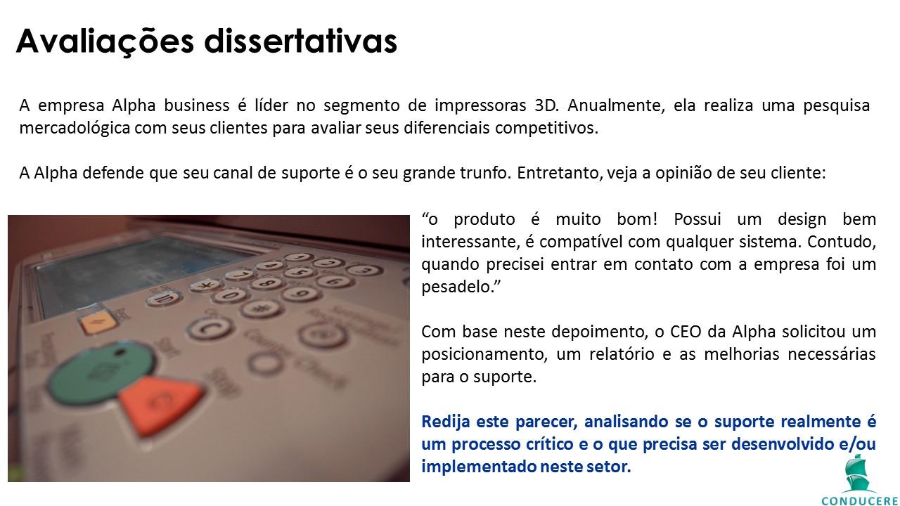 Tela de conteúdo: avaliações dissertativas