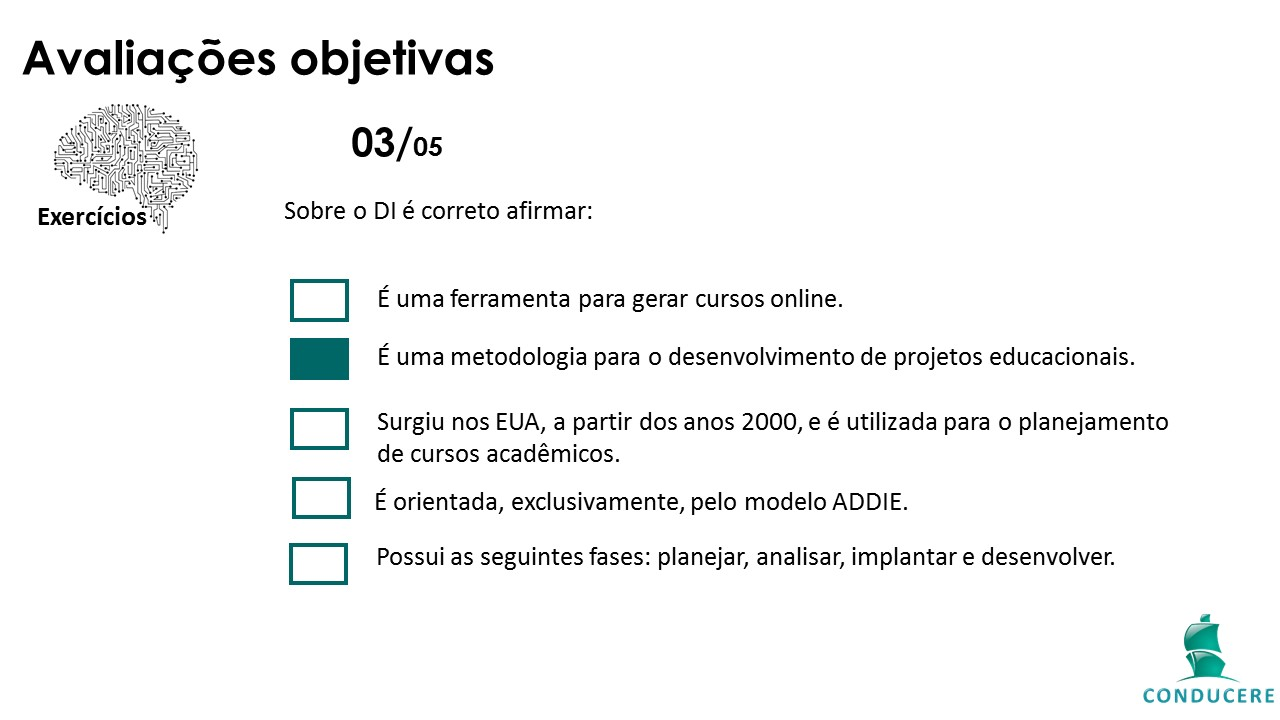 Tela de conteúdo: avaliações objetivas
